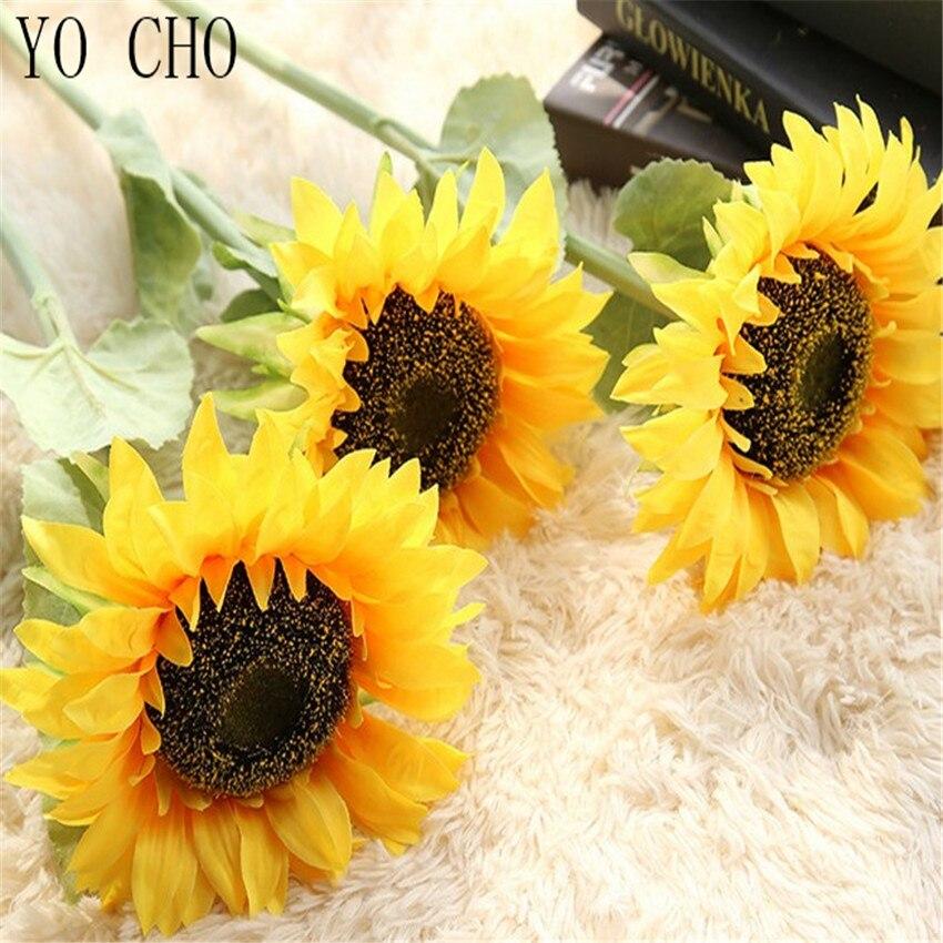 YO CHO High Quality Lifelike Artificial Sunflower Silk Flower Home Garden Verandah Bedroom Office Party Flower Wall Decoration