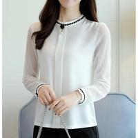 White Chiffon Shirt Blusas Spring New Stand Long Sleeve Solid Plus Size Slim Women Blouses Office
