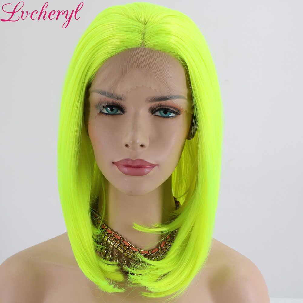 Lvcheryl neonowy żółty kolor żaroodporne krótkie włosy peruki syntetyczna koronka przodu peruki na imprezę cosplay makijaż peruki na lato