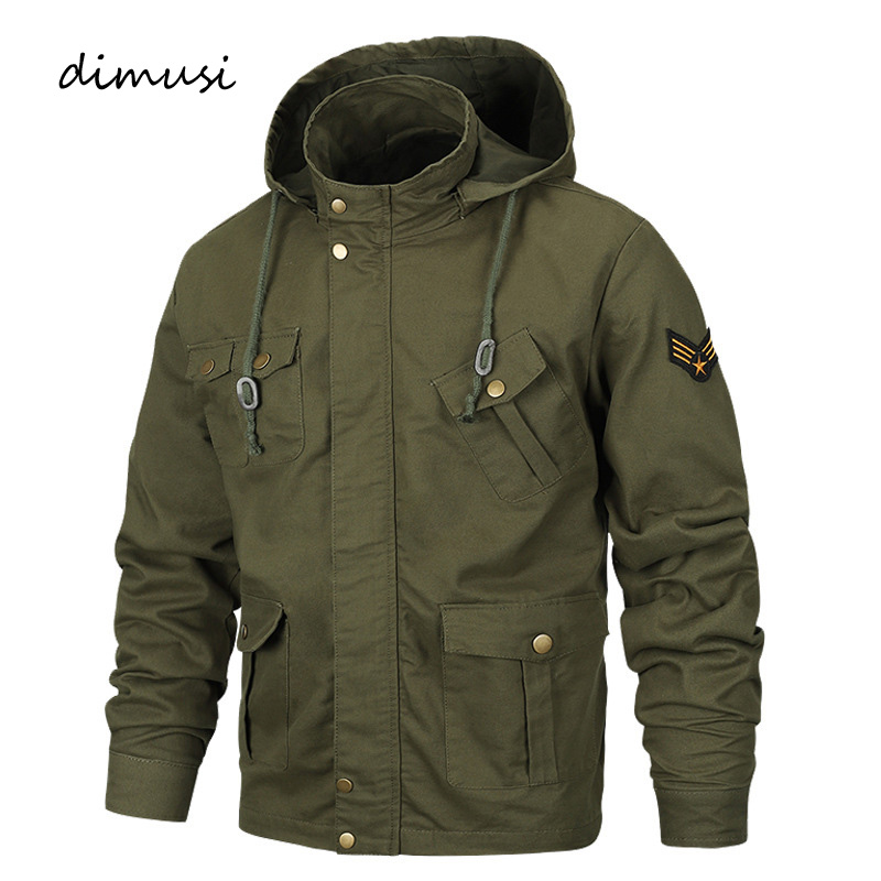 DIMUSI Autumn Winter Men's Bomber Jackets Men Casual Cotton Hooded Coats Outerwear Male Army Military Jackets Clothing 6XL,YA993