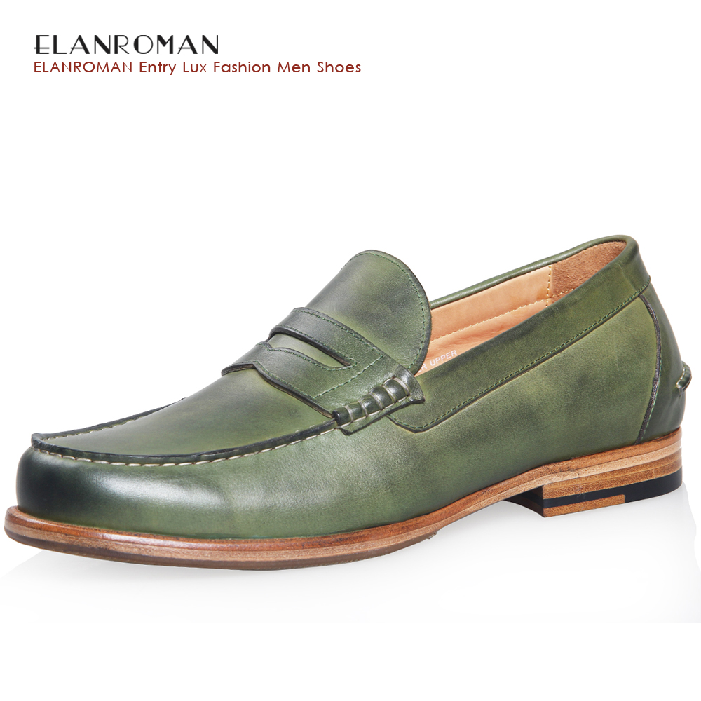 ELANROMAN 2017Summer Men Casual Shoes Penny Loafers Round Toe Cow Genuine Leather Slip-on solid Height Increasing 30mm Massage branded men s penny loafes casual men s full grain leather emboss crocodile boat shoes slip on breathable moccasin driving shoes