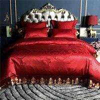 100 S Атлас покрывало на кровать из жаккарда, роскошный набор свадебного постельного белья queen King size 4/6 шт постельное белье Набор наволочек
