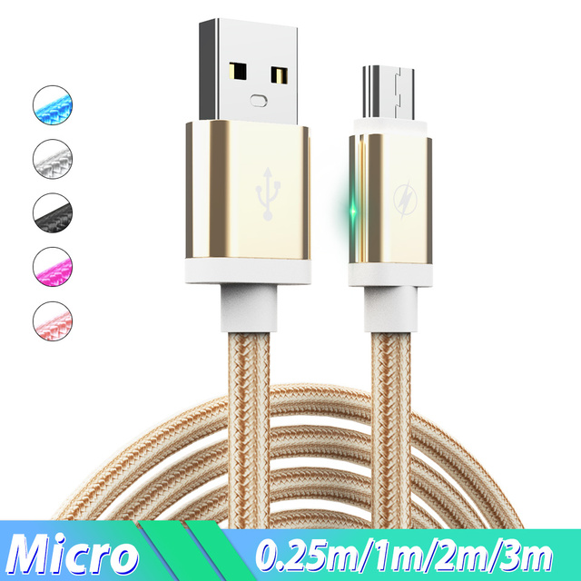 Micro USB Cable 2.4A Phone Charge Wire 1.5m 2m 3m Cabo Micro Usb Charging Cable for Xiaomi Redmi Note 6 5 Pro 4X Huawei Samsung