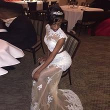Lange Mermaid Zweiteiler Brautkleider für Graduation High Neck Lace Tüll Sexy Backless Afrikanische abendkleid vestidos de baile
