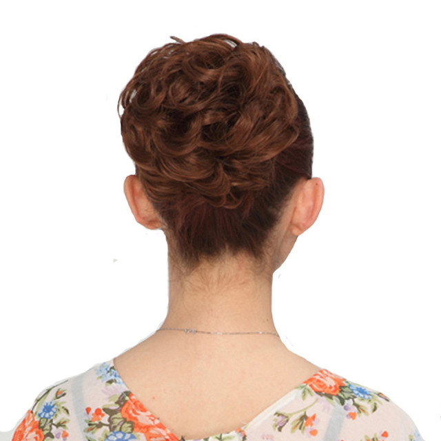 Feibin Women Curly Chignon Hairpiece Extensions For Bride
