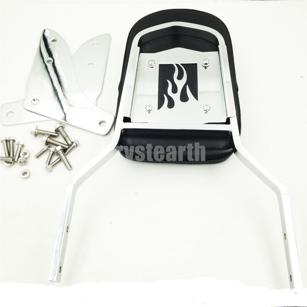 For Honda Shadow Sabre ACE 1100 Tourer Chrome Motorcycle Flame Rear Passenger Backrest Sissy Bar with Cushion Pad shadow of the flame