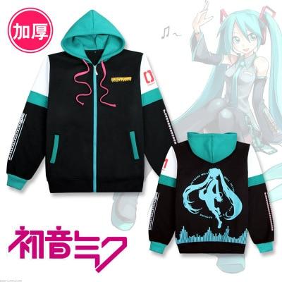 Game Anime Hatsune Miku Cosplay Costume Coat Autumn and Winter Jacket Cotton Thicken fleece Clothes Hoodie Sweatshirts