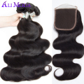 Brazilian virgin hair with closure 8A Mink Brazilian hair weave 4 bundles with closure Ali Moda Brazilian body wave with closure