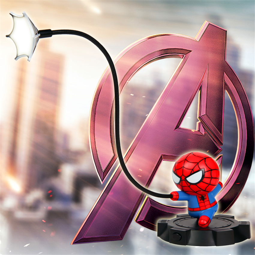 Super Spiderman Avengers Union 3 Led Night Light Resin Craft Kids Home Desktop Table Lamp Figurines Birthday Xmas Wedding Gifts