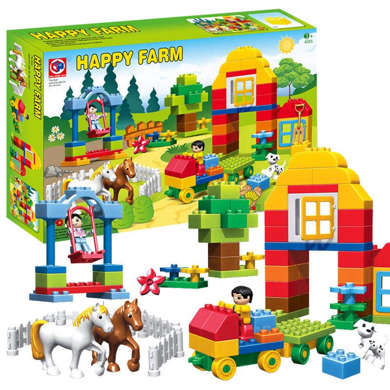 Big Brick 90pcs Happy Farm Animal Building Blocks Gift Toy Compatible Duploe Animals Horse Trailer Set kid s home toys large particles happy farm animals paradise model building blocks large size diy brick toy compatible with duplo