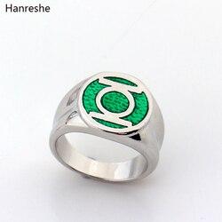 Anel dc comics super herói unissex lanterna verde anéis de festa para homens esmalte verde anel de energia filme moda jóias presente