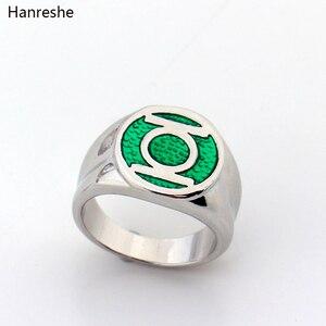 Кольцо Dc в виде супергероя из комиксов, кольца унисекс с зеленым фонариком для вечевечерние для мужчин, зеленое эмалированное кольцо с энер...