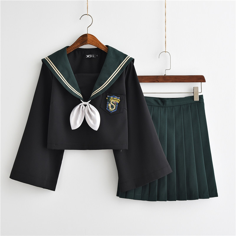 Women Potter Cosplay Costumes Tokyo Style Lady Dresses Women Green Slytherin Student JK Uniform Pleated Skirt Sailor Suits