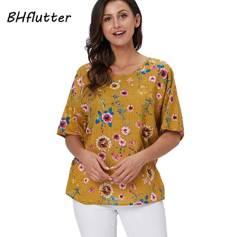 BHflutter בתוספת גודל 2019 חולצה חולצה נשים 100% כותנה מקרית Loose חולצות קצר שרוול פרחוני הדפסת קיץ חולצות Tees Blusas