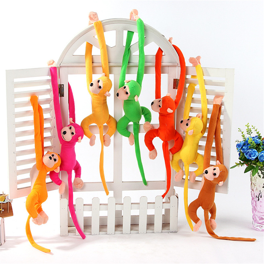 60cm Monkey Doll Plush Toys Curtains Baby Sleeping Appease Animal Stuffed Doll Long Arm Tail Monkey