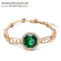 Neoglory áustria crystal & rhinestone bangle ouro amarelo claro cor verde elegante pedra estilo geométrico pulseira festa de jóias