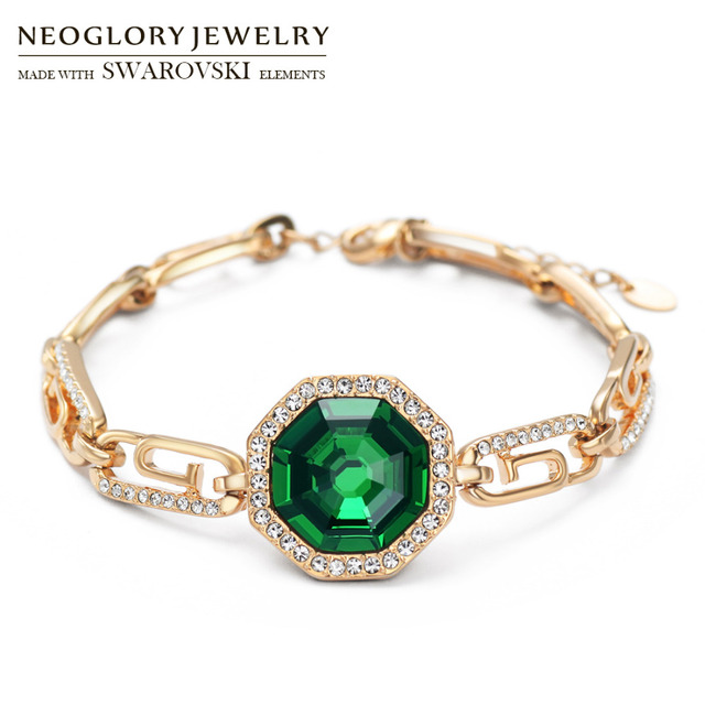 Neoglory Austria Crystal   Rhinestone Bangle Light Yellow Gold Color  Elegant Green Stone Geometric Style Jewelry Bracelet Party 8df94e42e4a2