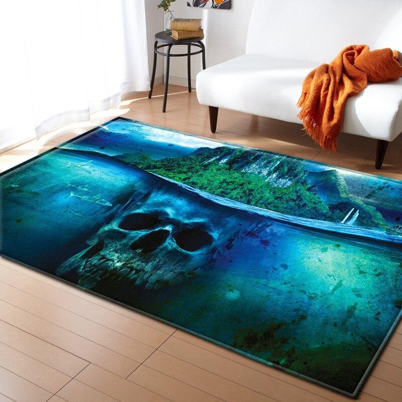 Peut personnalisé grande taille tapis personnalité Creative crâne motif tapis pour salon maison tapis chambre chevet couverture