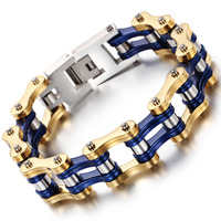 Sporty Bicycle Motorcycle Man Bracelets Casual Silver /Gold /Blue Color Stainless Steel Men's Link Chain Bracelet Jewelry