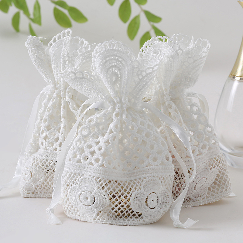 10x14cm Jewelry Gift Bag White Eyelet Lace Bag Bunch Pocket Wedding Candy Bag Dai  Gift Pocket For Jewellery Muzzle Gift Bag