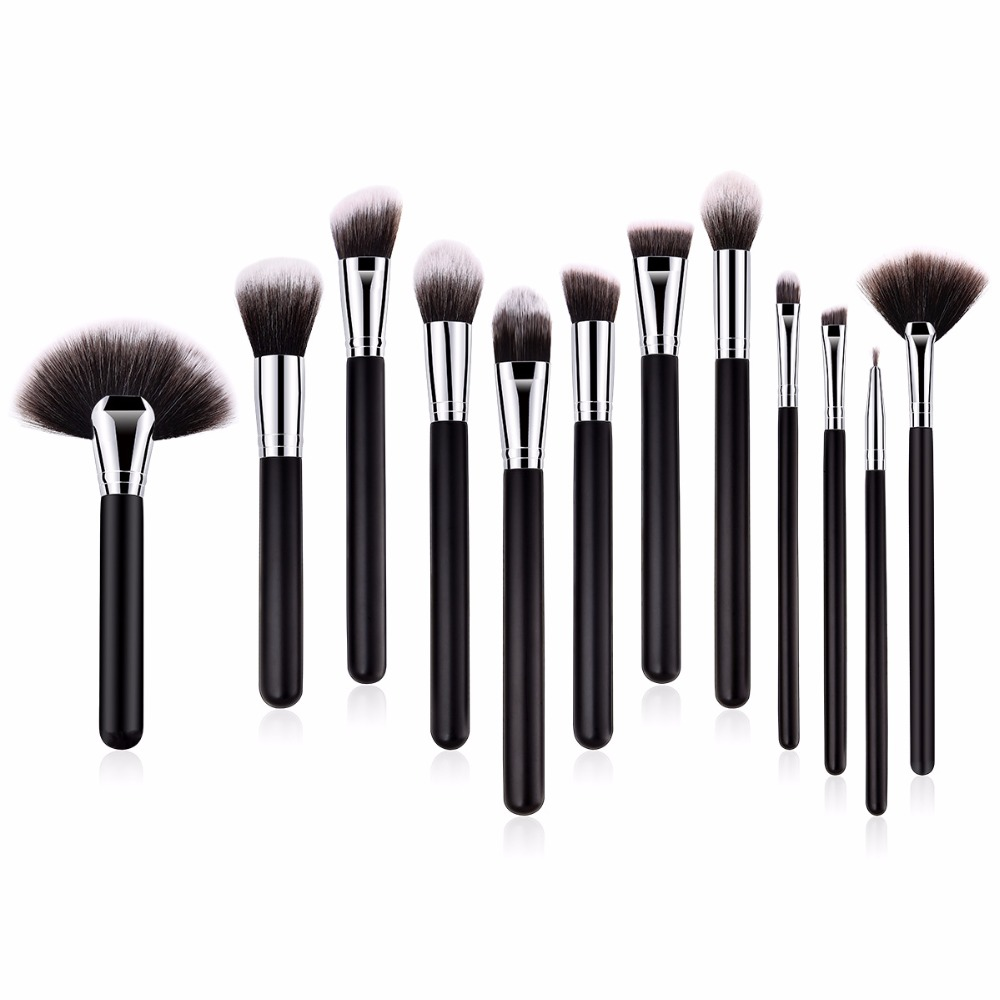 Saylybeauty 12PCS/SET Professional Makeup Brushes Set Make up Brush Tools kit Foundation Powder Eye Brushes with Fan Brush professional 10pcs set orange color makeup stick makeup brush set foundation fan brush eye shadow brush beauty tools