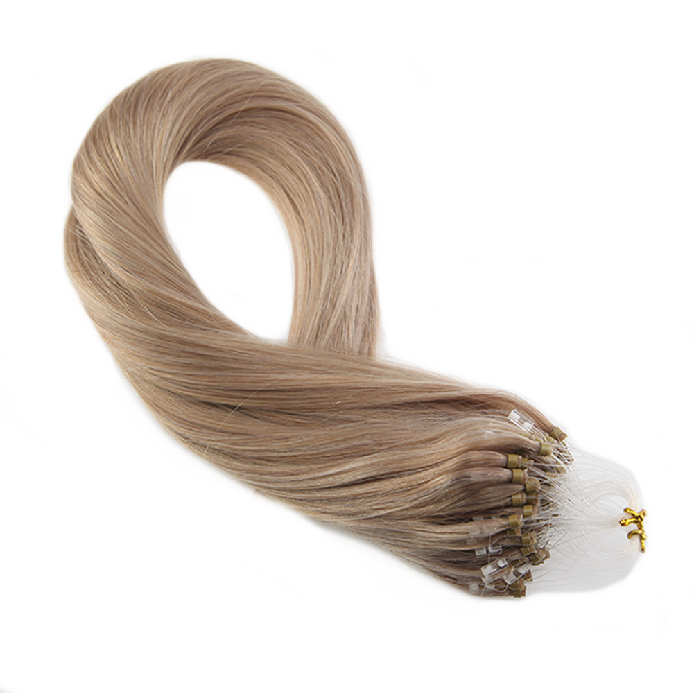 Moresoo Micro Ring Hair Extensions Machine Remy Human Hair Micro Loop Human Hair Extensions Pure Color #18 50G/50S/Pack