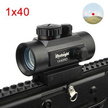 1x40 2x40 3x44 Rifle alcance rojo verde punto mira iluminada Rangefinder caza alcance riel tejedor de 11mm y 20mm