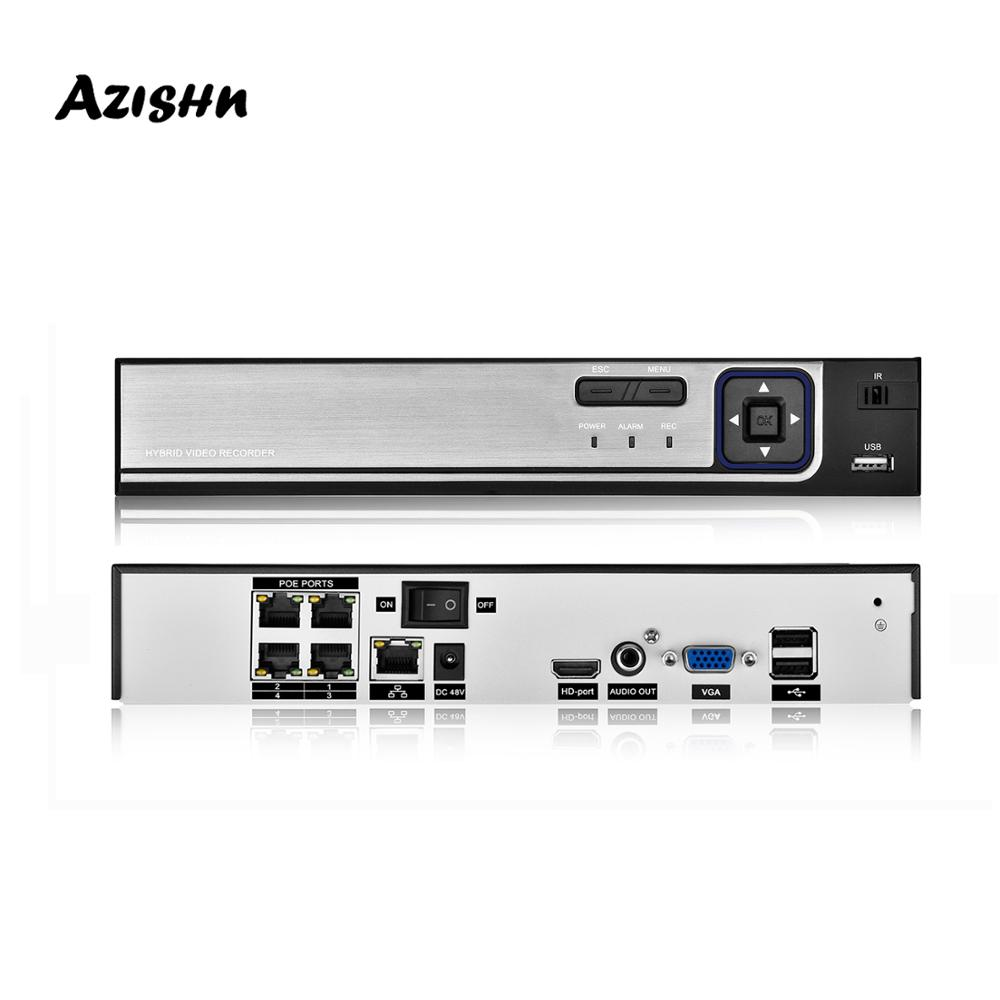 AZISHN H.265+ 48V POE <font><b>NVR</b></font> <font><b>4CH</b></font>/8CH 5MP Audio Surveillance Face Detection IP Camera <font><b>CCTV</b></font> System ONVIF P2P Network Video Recorder image