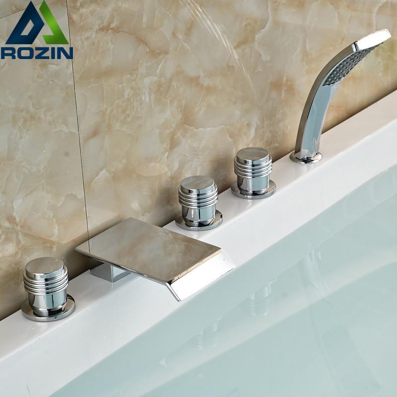 Three Handles Brass Chrome Waterfall Bathroom Tub Faucet