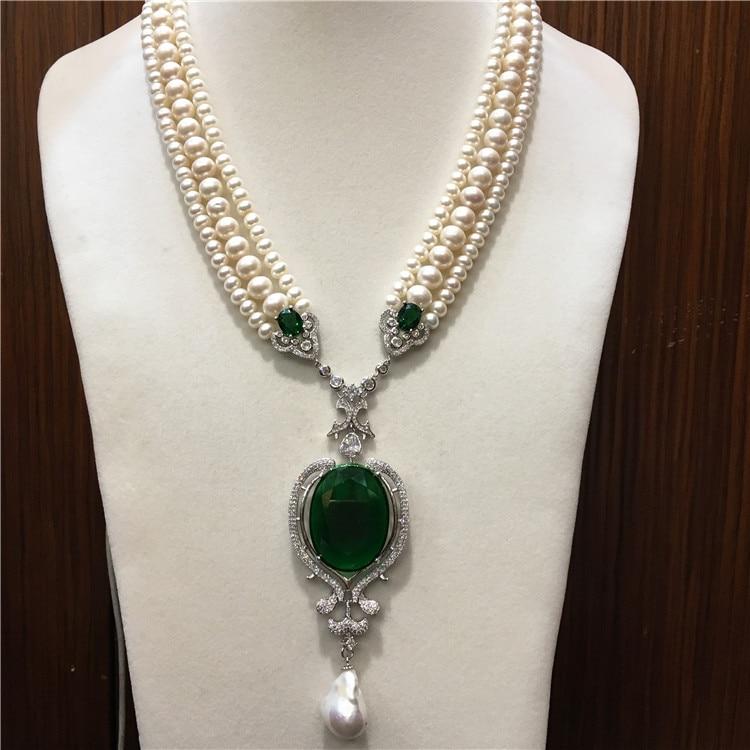 Mano anudada blanco natural agua dulce perla lujo multicapa suéter cadena collar joyería de moda-in Collares de cadena from Joyería y accesorios    1