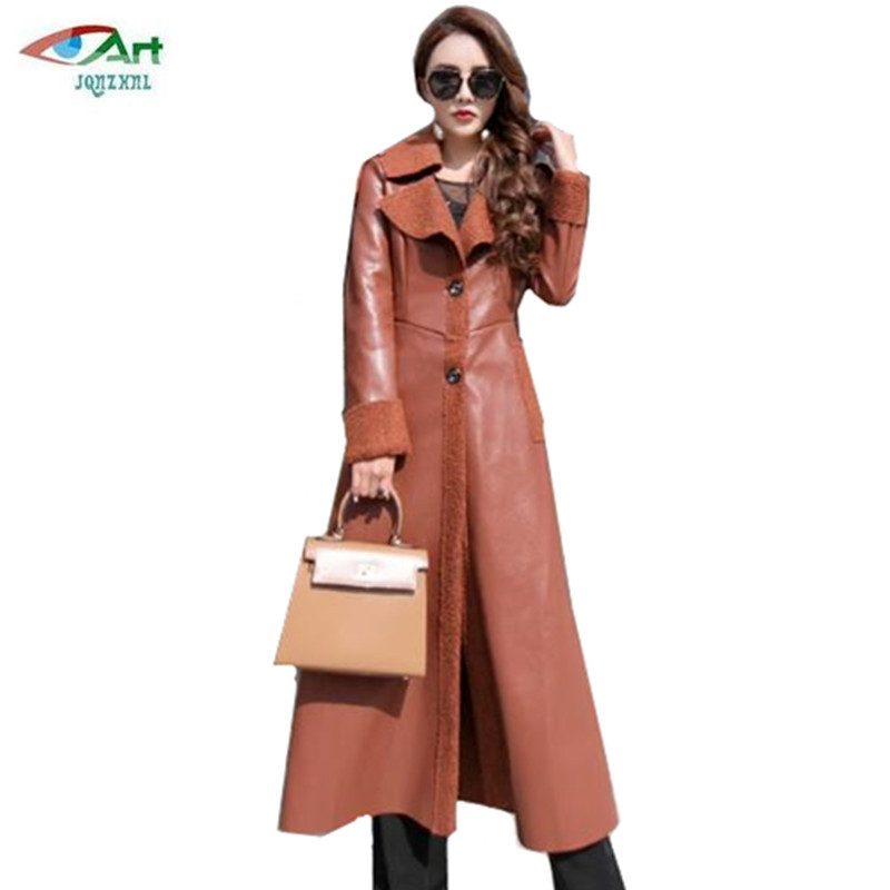 Long leather women's jackets winter new slim Show thin fashion lapel leather Overcoats warm lamb hair women's basic coats AS721-in Leather Jackets from Women's Clothing    3