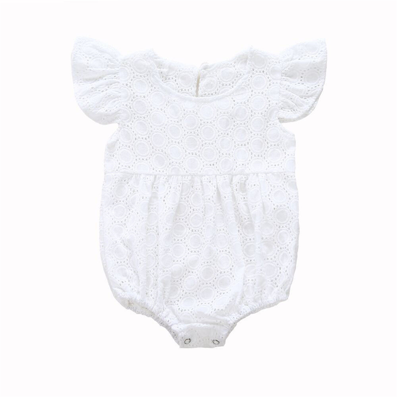 Baby Girls White Lace Ruffles Romper Summer Cute Baby Girl Short Sleeve Romper Infant Lace Jumpsuit Clothes Body Suit For Girl 3pcs set newborn infant baby boy girl clothes 2017 summer short sleeve leopard floral romper bodysuit headband shoes outfits