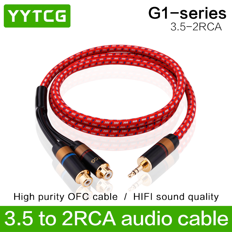 YYTCG 3.5mm Male To 2RCA Female Jack Stereo AUX Audio Cable Y Adapter For IPhone MP3 Tablet Computer Speaker 3.5 RCA Jack Cable