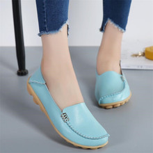 New Women Real Leather Shoes Moccasins Mother Loafers Soft Leisure Flats Casual Female Driving Ballet Footwear sneakers 34--44