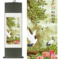 Chinese Silk watercolor flower and birds Peacock Crane peony ink art feng shui canvas wall picture scroll damask framed painting