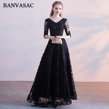 BANVASAC 2018 V Neck Lace Appliques Illusion Half Sleeve A Line Long Evening Dresses Party Sash Backless Prom Gowns