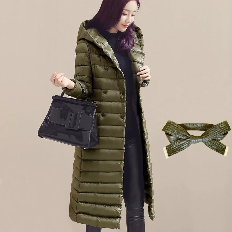 2018 Autumn Winter Women Duck   Downs   Jacket Parkas Sashes Long   Down     Coat   Ladies Ultra Light Outerwear Hooded   Coats   Plus Size A881
