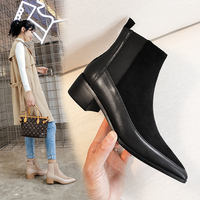 women Ankle boots Genuine Leather 22 24.5 cm feet length ankle boots for women Leather stitching online celebrity Chelsea boots