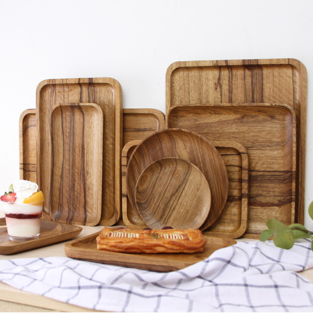 Free Shipping 8 14inch Nordic Japanese Natural Solid Wood Tray