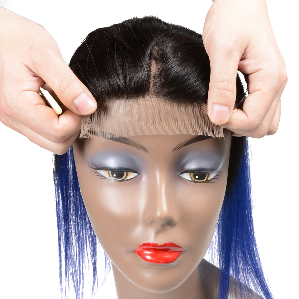 Sexay Ombre Blue Hd Lace Closure Brazilian Straight Human Hair Extensions Colored Double Drawn Human Hair Closure With Baby Hair