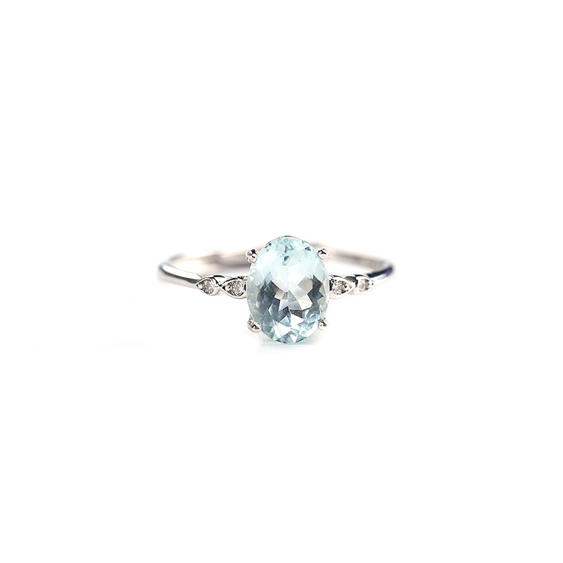 Cute Simple Small Ring With Natural Aquamarine Gemstone Ring In 925 Sterling Silver Fine Jewelry For Girls & Women As Gift