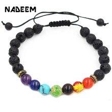 NADEEM Fashion Adjustable Braiding 7 Chakra Bracelet Black Lava Healing Balance Reiki Prayer Natural Stone Beads Bracelets