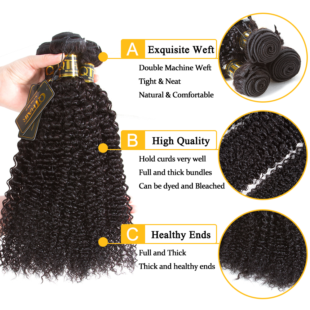 QT Kinky Curly Bundles With Closure Wet And Wavy Bundles With Closure Brazilian Human Hair Weave Bundles With Closure Remy Hair