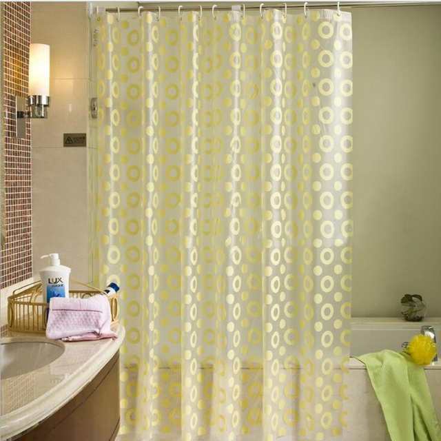 Modern Shower Curtain with Hooks PEVA Mold Proof Waterproof Yellow ...
