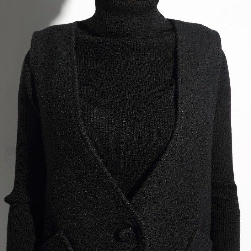 30% Wool Vest Women Black Cardigan Simple Designs Pockets Thick ...