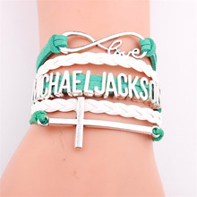 New Arrived Infinity Bracelet MICHAEL JACKSON Charm CROSS Leather Jewelry For Men Women