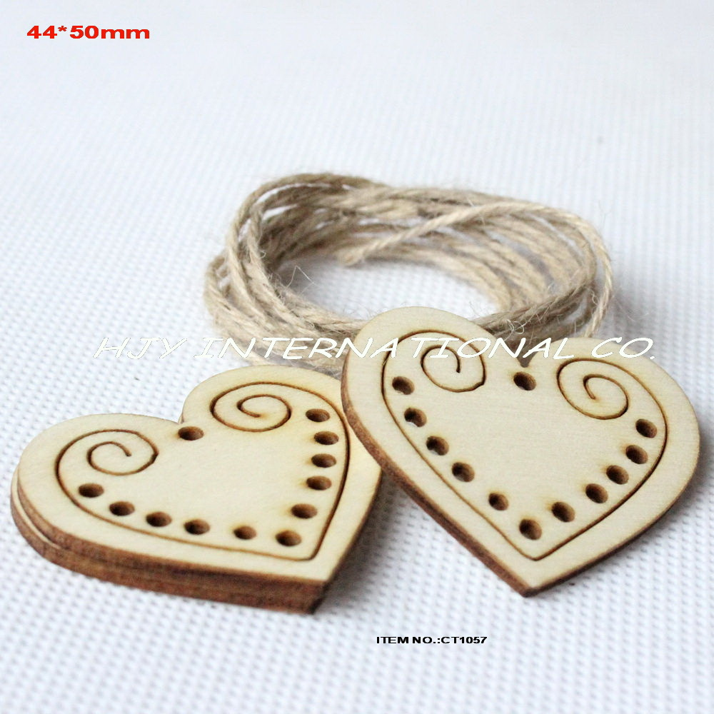 (60pcs/lot) 44mmx 50mm Unfinished plain wooden heart tags key craft wishing tree tags -C ...