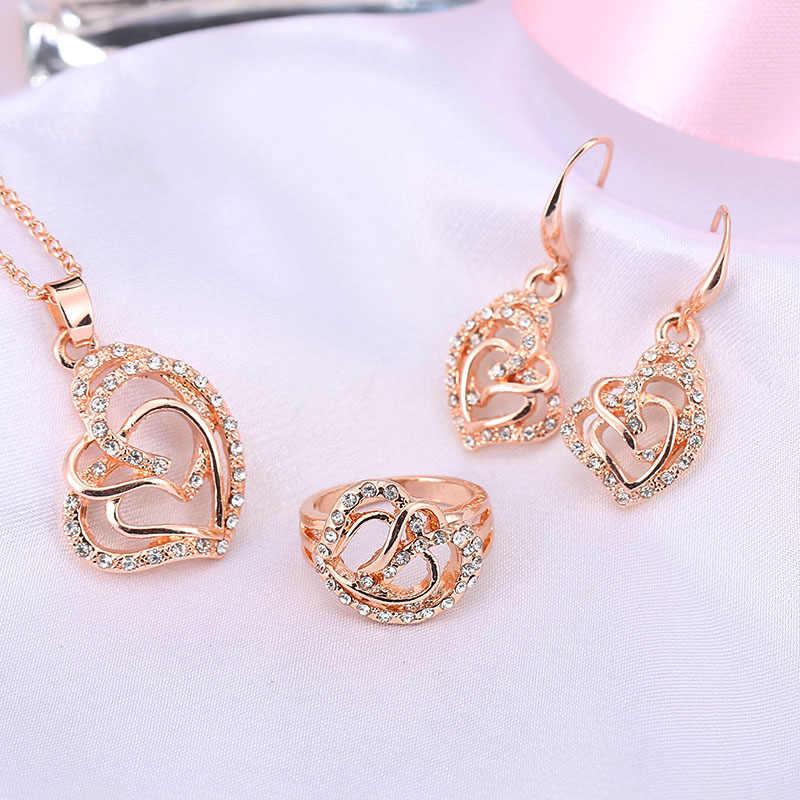 2015 trendy Neueste Rose Kristall Afrikanische Mode Modeschmuck für Frauen Herzform Halskette Ohrringe Ring Sets