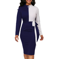 7c57de0502d158 Fashion Patchwork Long Sleeve Dress Women 2019 Sexy Slim Office Pencil Bodycon  Dress Female Casual Sashes