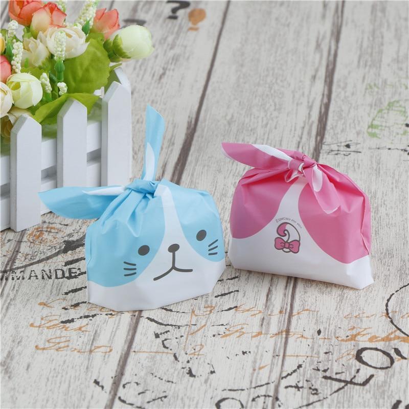 50pcs Plastic Baking Bags Rabbit Ear Package Cookie Bags Self-adhesive Gift Bags